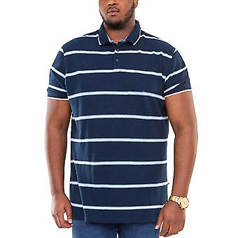 Duke D555 Mens Montego Big Tall King Size Striped Polo Shirt T-Shirt Top - Blue
