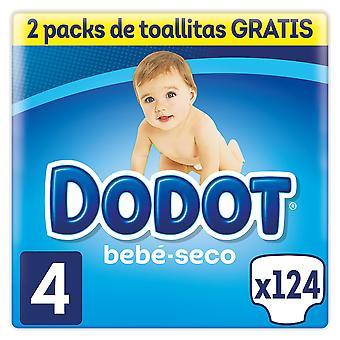 Dodot Bebé Seco Pañal Talla 4 con 124 unidades + 128 Toallitas