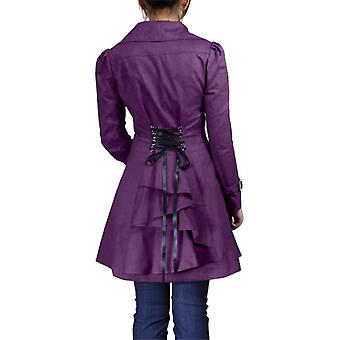 Chic Star Lace-Up Ruffled Jacket In Purple
