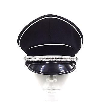 Hat Officer Niemiecki Cap Srebrny sznur czarny
