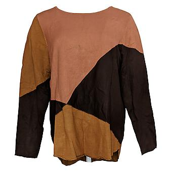 Belle by Kim Gravel Women's Sweater Colorblocked Brown A383468