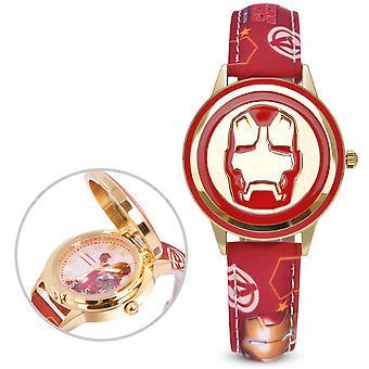 Captain America Children's Watch Boy Disney Flip Cover Elektronické hodinky Quartz