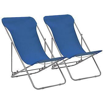 vidaXL Cadeiras de Praia Dobráveis 2 Pcs. Aço e Oxford Fabric Azul