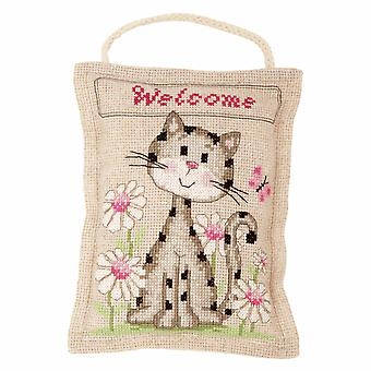 Vervaco Cross Stitch Kit: Coussin: Chaton Bienvenue