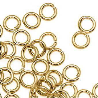 14K Gold Plated JUMPLOCK Jump Rings 4mm Diameter 20 Gauge Thick (100)