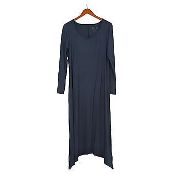 G.I.L.I. Vestido de mujer punto manga larga Scoop Cuello Maxi Púrpura A302135