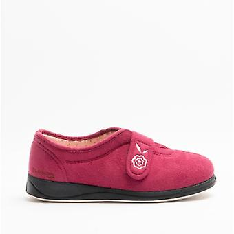 Padders Camilla Ladies Microsuede Extra Wide (2e) Full Slippers Cerise