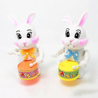Cartoon Rabbit Drumming Wind Up Lelu, Lapset, Vauva, Kellokoneisto, Pupu