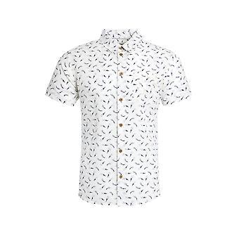 Hoy Short Sleeve Printed Linen Shirt Petrol Blue