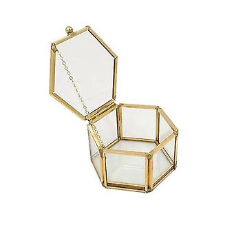 Hexagon Transparent Glass Jewelry Box
