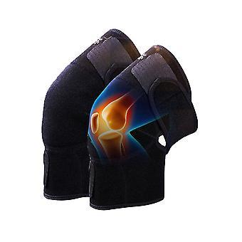 2 stuks magnetische therapie spontane warmte beweging kneepad fitness lopen elastische sport compressie knie pad zwart