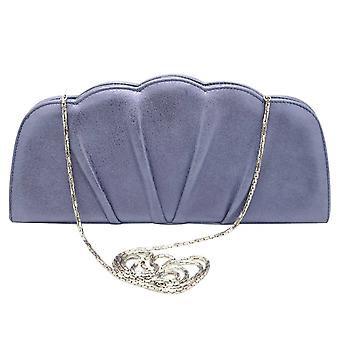 Magrit Metallic Blue Vintage Inspired Shell Shape Clutch Bag With Chain Shoulder Strap