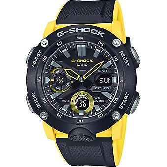 G-Shock Ga-2000-1a9er Black & Yellow Silicone Dual Men's Watch
