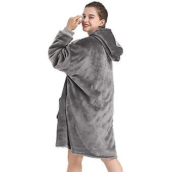 Oversized Deluxe Fleece Front Zipper Sweatshirt With Deep Pockets And Comfy Sleeves(Gray)