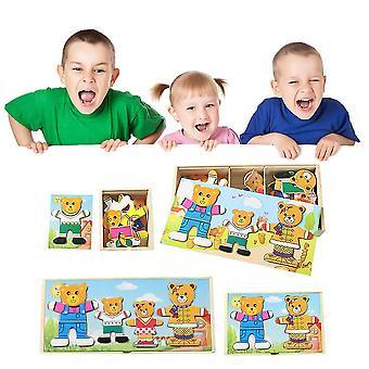 A / b / c / d Styl Baby Edukacyjne Drewniane Niedźwiedź Dziecko Zmiana Ubrania Dressing Puzzle