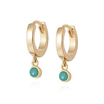 Daisy Amazonite Healing Huggie Hoops 18ct Gold Plate Earrings HE3003_GP
