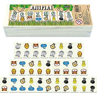 Tierische Domino Spiel für Kinder – 28 Teile in Holzkiste – Legespiele für Kinder ab 3