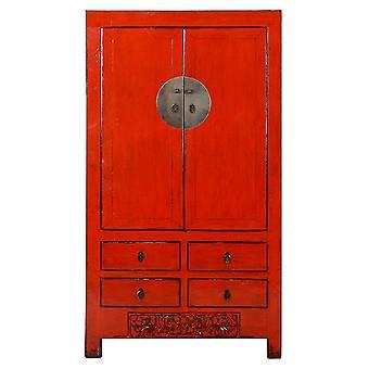 Fina Asianliving antiguo gabinete de boda chino rojo brillante W104xD50xH186cm