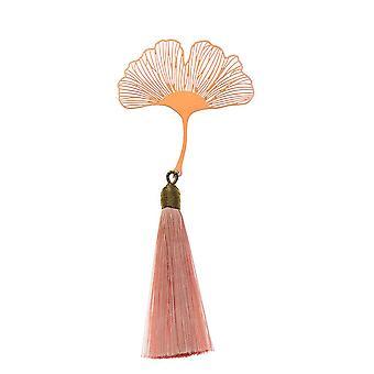 Vintage Metal Bookmark Creative Leaf Vein Rose Gold Hollow Maple Fringed Tassel Apricot Leaf