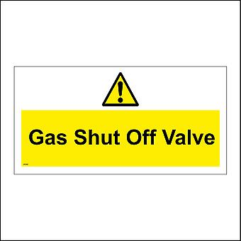 WS561 Gas Shut Off Valve Sign with Triangle Exclamation Mark