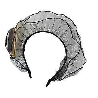 3PCSWomen's Imitation Pearls Lace Bow Headband Headwear Black Lace Hair Hoop Girls Hair Jewelry Hand