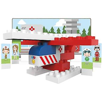 BIOBUDDI BB-0128 Building Rescue Helicopter Play Set, 18 Blocks, 9 Push-Out Cards, Multi-Coloured