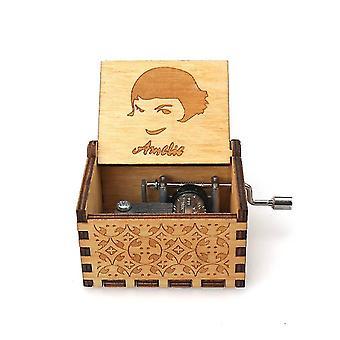 Amelie Gravierte Hand Kurbel 18 Töne Holz Spieldose