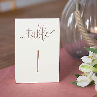 Cream Ivory and Gold Wedding Table Numbers 1-10
