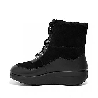 FitFlop Mukluk Iii Shearling-lined Laced Ankle Boots In Black