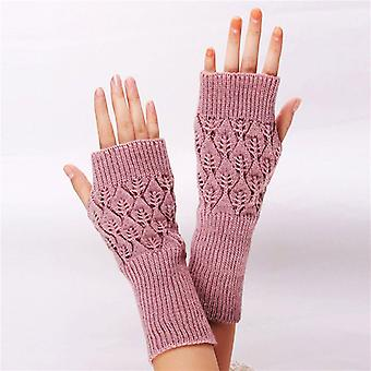 Damen beliebte gestrickte Arm Fingerlose lange Handschuhe Handgelenk Warme Winterhandschuhe