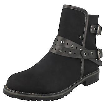 Ladies posto sul tacco basso alla caviglia stivali F50708