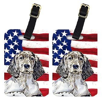 Pair of USA American Flag with English Setter Luggage Tags
