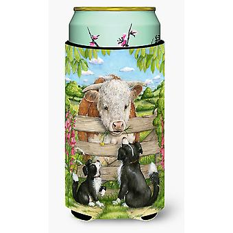 Bull and Pup Friends by Debbie Cook Tall Boy Beverage Insulator Hugger