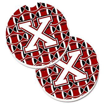 Letra X fútbol cardenal y blanco conjunto de taza 2 soporte coche posavasos