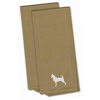 Chihuahua Tan haftowane zestaw Ręcznik kuchenny 2