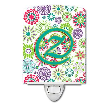 Letter Z Flowers Pink Teal Green Initial Ceramic Night Light