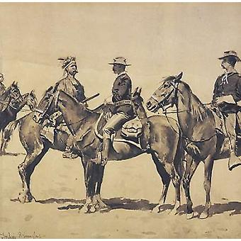 Detail The Meeting With The US Cavalry Poster Print by Frederic Remington