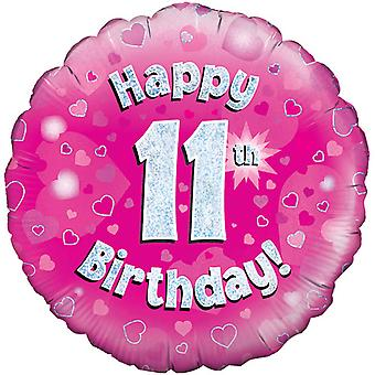 Oaktree 18 Inch Happy 11th Birthday Pink Holographic Balloon