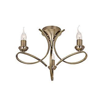 Interiors 1900 Penn Semi-Flush 3 Light Chandelier In A Brushed