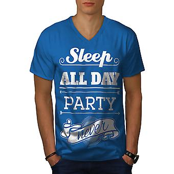 Sleep Party Never Funy Men Royal BlueV-Neck T-shirt | Wellcoda