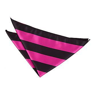 Hot Pink og sort stribet Pocket Square
