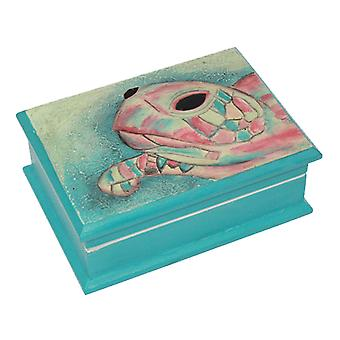 Sea Turtle Teal Lidded Keepsake Wood Box With Mirror