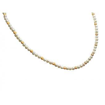 Gemshine naisten kaula koru viljellyt helmet valkoinen kulta kullattu 45 cm