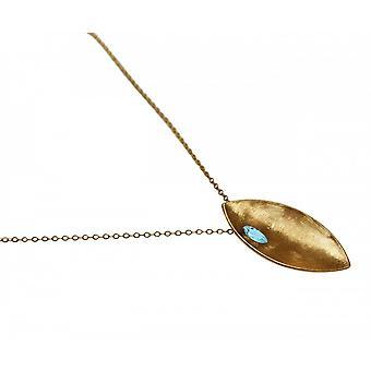 Damen - Halskette - Anhänger - 925 Silber - Vergoldet - MARQUISE - Topas - Blau - 45 cm