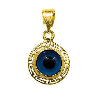 Sterling sølv 18 Karat Guld Overlay græske nøgletema dobbelt sidet onde øjne vedhæng charme