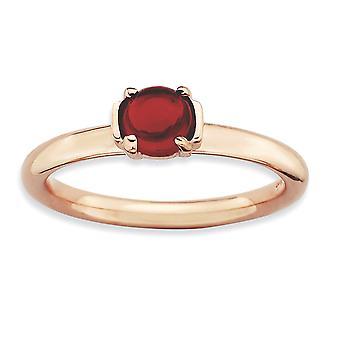 2,5 mm 925 Sterling Silber poliert Prong Set stapelbare Ausdrücke Granat rosa plattiert Ring Schmuck Geschenke für Frauen - Rin