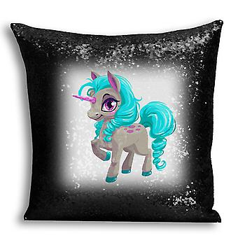 i-Tronixs - Unicorn Printed Design Black Sequin Cushion / Pillow Cover with Inserted Pillow for Home Decor - 17