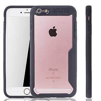 Schwarze premium Apple iPhone 6-6s sekä hybridi painos kansi. Tukee Langaton lataaminen | hieno akryyli pehmeä silikoni rengas musta