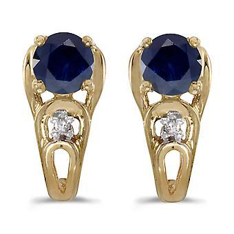 LXR 10k keltainen kulta pyöreä safiiri ja timantti korvakorut 1.06ct