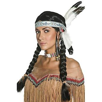 Long Black Plaited Wig, Authentic Western Indian Wig. With Feather Headband
